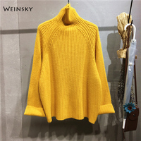 Weinsky Casual Women Knitted Thick Sweaters And Pullovers Ladies Autumn And Winter 2018 Korean Oversized Sweaters White Pink