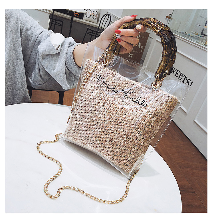 Summer Straw Beach Women Bamboo Handle Crossbody Handbag