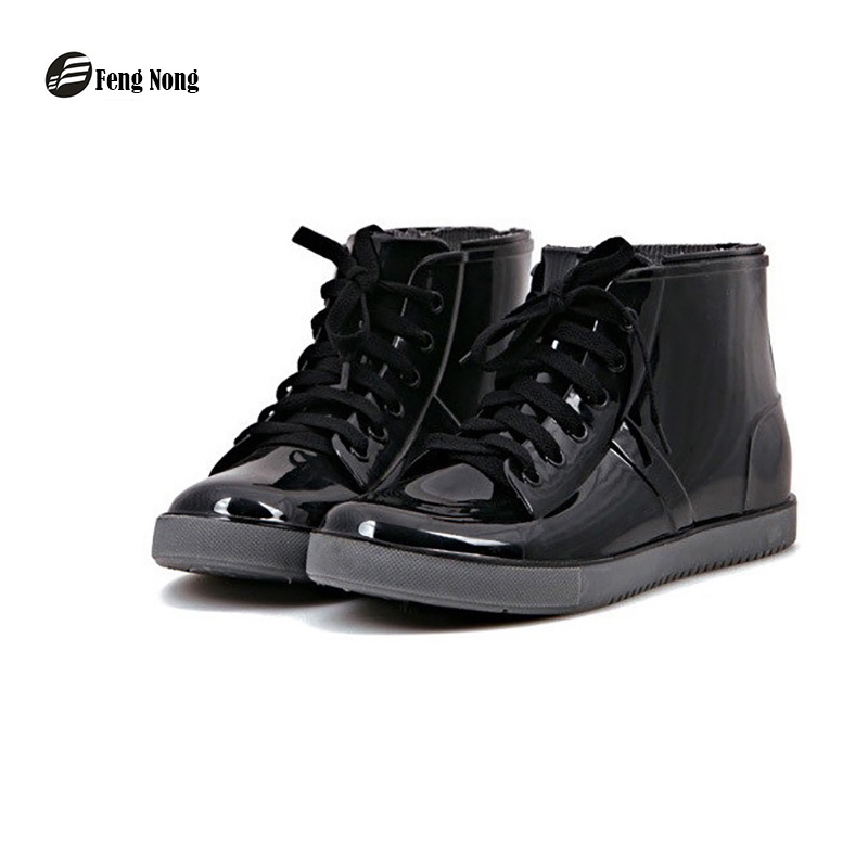 Feng Nong FashionNew arrival sewing waterproof flat with shoes woman rain woman water rubber ankle boots cross-tied botas