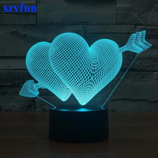 Superb Romantic 3D Illusion Lamp Creative Beside Night Light Love Heart Mood Lampe  LED Novelty Lighting Wedding