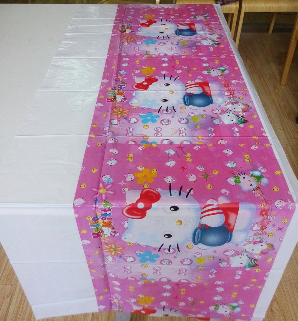 108cm*180cm Hello Kitty Party Supplies Table Cloth For Kids Birthday Party Decorations Hello Kitty Party Set Favors For Children
