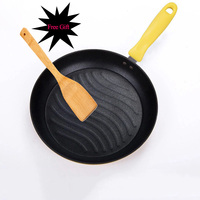 Fine iron Frying Pan Health Non stick Frying Pan Kitchen Grill Pan With Anti hot Handle Frying Pan Induction For Gas Cooker