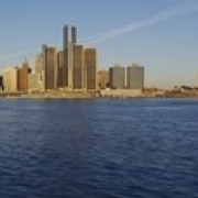 Skyscrapers on the waterfront  Detroit  Michigan  USA Poster Print (18 x 6)