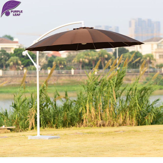 PURPLE LEAF Patio Umbrella Offset Fiberglass Crank Umbrella 9ft Diameter  Circular Brown Outdoor Umbrella Garden Furniture