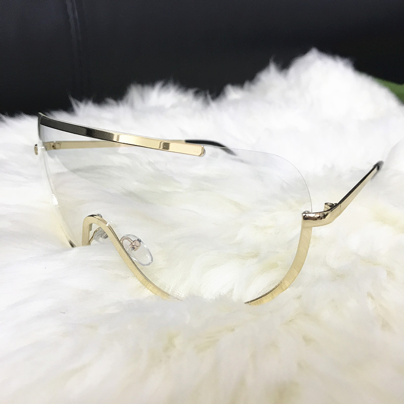 Rimless Gold Clear Sunglasses Men Women Brand Designer Aviator Clear Sunglasses 5