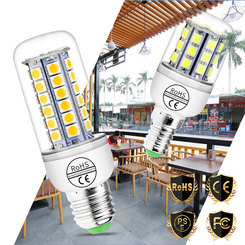 Led Light Emitting Diode Lamp Corn Bulb 5050 E27 Home Led Light Bulbs E14 Led 220V Lamparas 24 30 36 48leds Chandelier Lighting