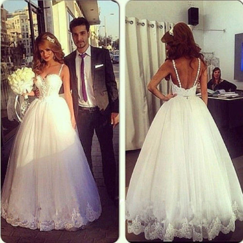 + Spaghetti Backless Lace Tulle Wedding Dress Mermaid Bridal Gown Size 4 6 8 10