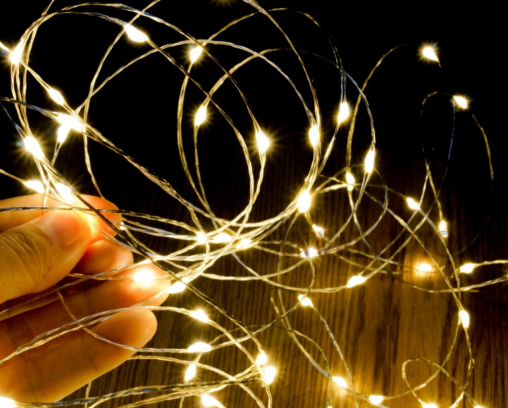 10m 33ft Micro 100 Leds Silver Copper Wire Led String