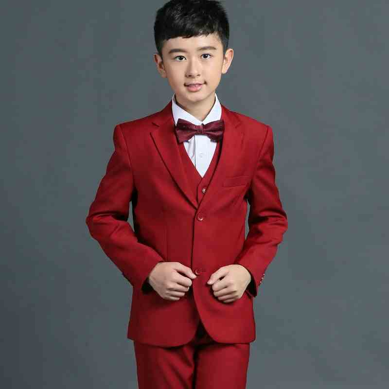 2018 new sety middle child red suit and boy perfoumance clotying Gentlemen Boys Suits For Weddings 5pcs italians gentlemen пиджак