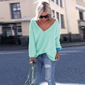 Spring Knit Sweater  Women Clothing Casual Loose Long Sleeved V-Neck Pullover Sweaters Tops DM#6