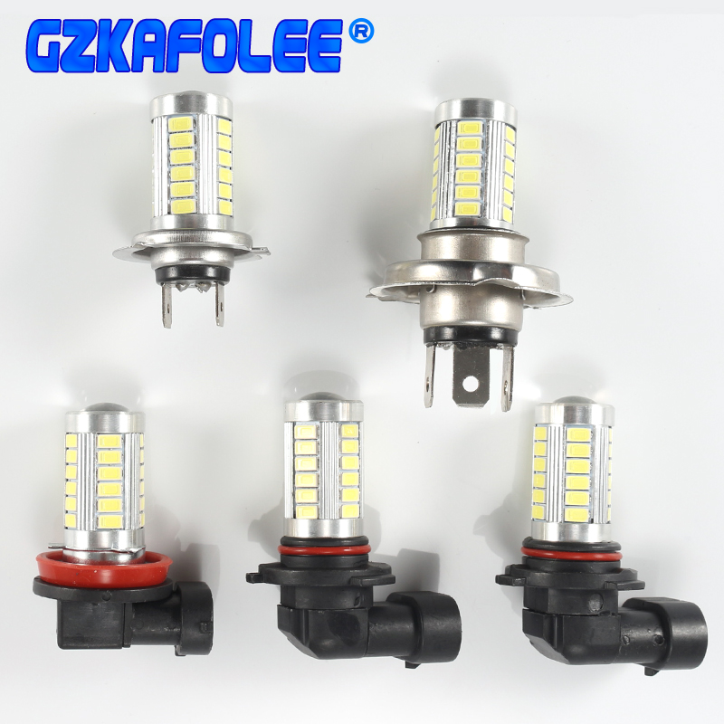 1pcs Car Fog Lamp P21W H4 H7 H8 H11 H10 H16(jp) 9005 Hb3 9006 Hb4 1156 33SMD LED 12V Auto Bulb 6000K With LENS 5630 LED Chip