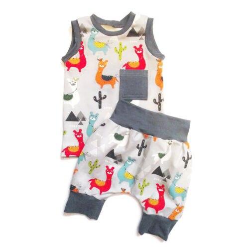 5e1f0ca3ff6f 2Pcs Lovely Toddler Baby Boy Girl Clothes Cartoon Alpaca Tops Sleeveless  Vest Short Cute Pants 2018 Summer Fashion Outfit Set