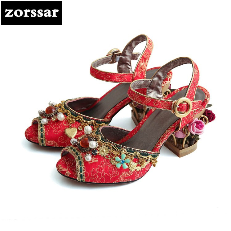 {Zorssar} 2018 New fashion Flowers Retro Style womens Mary Jane High heels peep toe shoes pumps women wedding shoes size 34-43 zorssar brand 2017 high quality sexy summer womens sandals peep toe high heels ladies wedding party shoes plus size 34 43