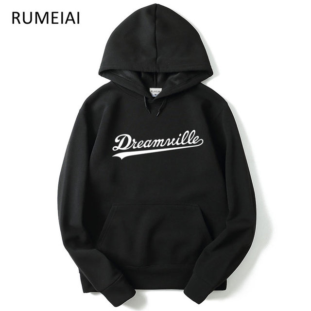 RUMEIAI 2017 New Dreamville Records Hoodies Sudaderas Hombre Men's Hooded Sweatshirt Black/gray Cotton Tracksuit Brand Clothing