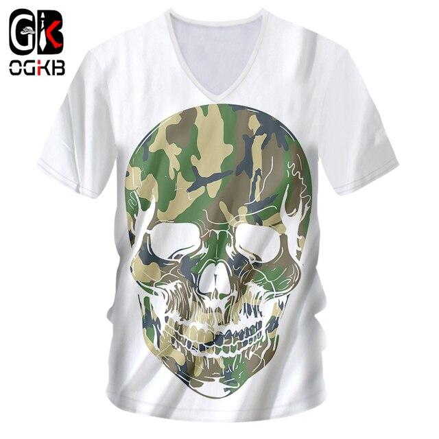 efc2f73fb34 OGKB 2018 Summer Tops Cool V Neck Tshirt Print Camouflag 3D T-shirt Skull  Casual T Shirts For Women men Workout Fitness Tees 7xl
