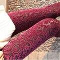 2017 Nueva Moda Casual Sexy Flacos Delgados Vintage Floral Lace Opacidad Estiramiento Elástico de Cintura Alta Mujeres Pantalones de Las Polainas de Terciopelo