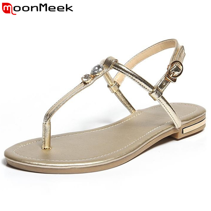 MoonMeek New arrive Casual Genuine Leather flat Women sandals Slippers Summer Shoes Beach flip flops fast shipping EUR size 4-43 slippers female summer 2016 new version for casual shoes women flat sandals sweet flowers beach shoes free shipping