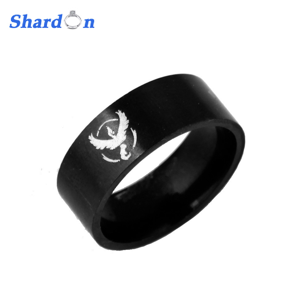 SHARDON Hot sell Black Titanium Pokemon Go Engraving Ring Mens Game Ring for Men