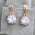 GR.NERH Top Quality Rose Gold Plated Solitaire 2 Carat Cubic Zirconium Stone Earrings For Women
