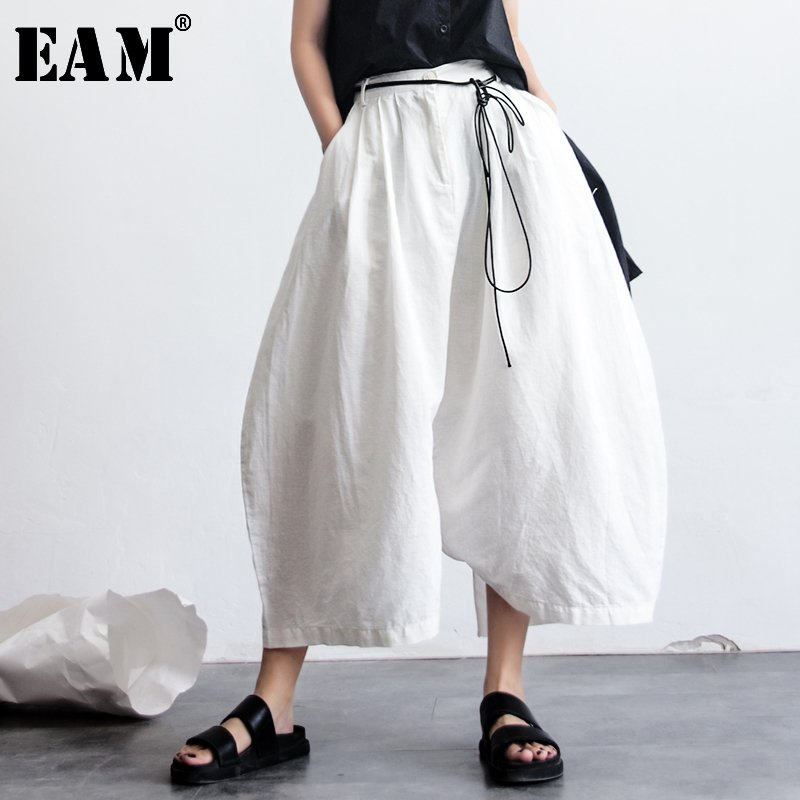[EAM] 2020 New Spring High Waist Bandage White Loose Big Size Long Cross-pants Women Trousers Fashion All-match JG028
