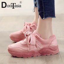 DORATASIA 2019 New Hot Sale Spring butterfly-knot Sneakers Women Large Size 35-42 Ladies Loafers Flats Casual Shoes Woman