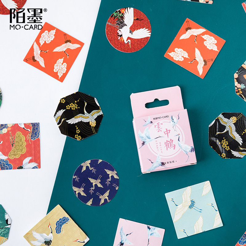 Crane In The Clouds Label Kawaii Diary Adhesive Paper Flake Japan Vintage Box Sticker Scrapbooking Bullet Journal Stationery