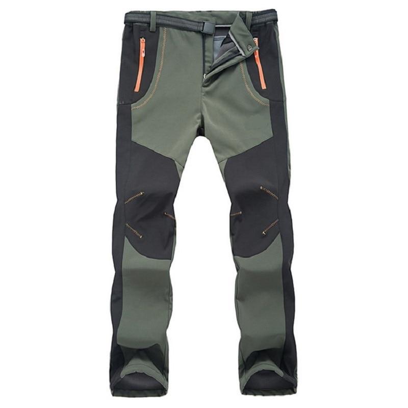 Outdoor Hiking Windproof Cargo Trousers Softshell Fleece Waterproof Work Pants