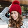 1 Pcs 2015 Novo 100% Acrílico Skullies Gorros Outono Inverno Quente Pure Color Artificial Bola Chapéus De Pele De Raposa Para As Mulheres 7 Cores