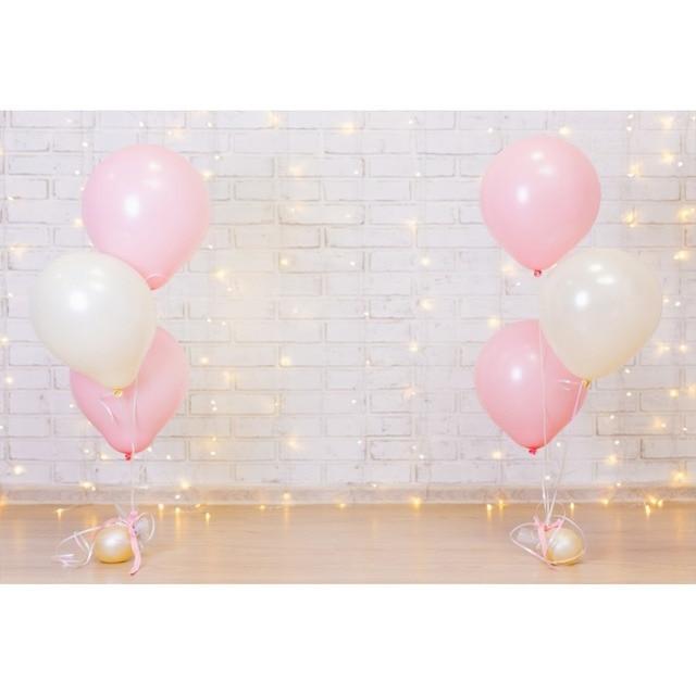Laeacco Birthday Backdrops Pink Balloons Gray Brick Wall Light Bulb Baby Party Love Portrait Photography Background Photo Studio