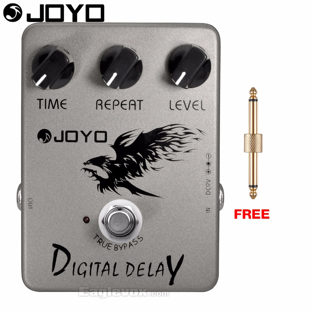 JOYO JF-08 Digital Delay Electric Guitar Effect Pedal True Bypass with Free Connector joyo jf 317 space verb digital reverb mini electric guitar effect pedal with knob guard true bypass