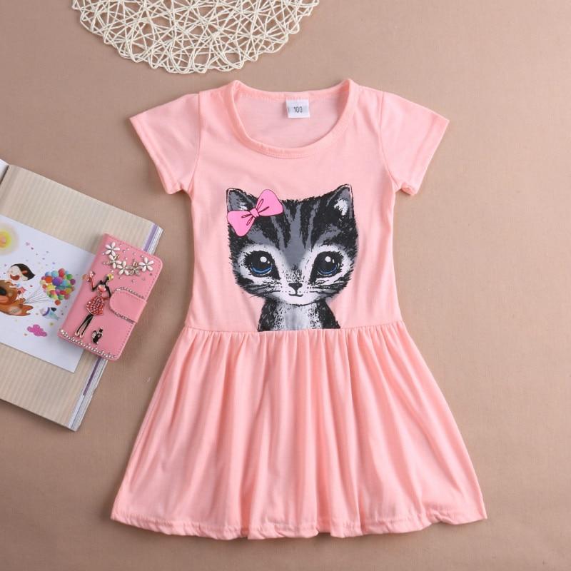 Toddler Kids Girls Summer Princess Short Sleeve Pierced Party Dress Age 2-6Years Printing Lovely Cat Girls Dress