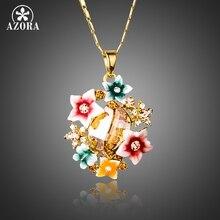 AZORA Multicolour Gorgeous Gold Color Flower Stellux Austrian Crystal Oil Painting Pattern Pendant Necklace TN0174