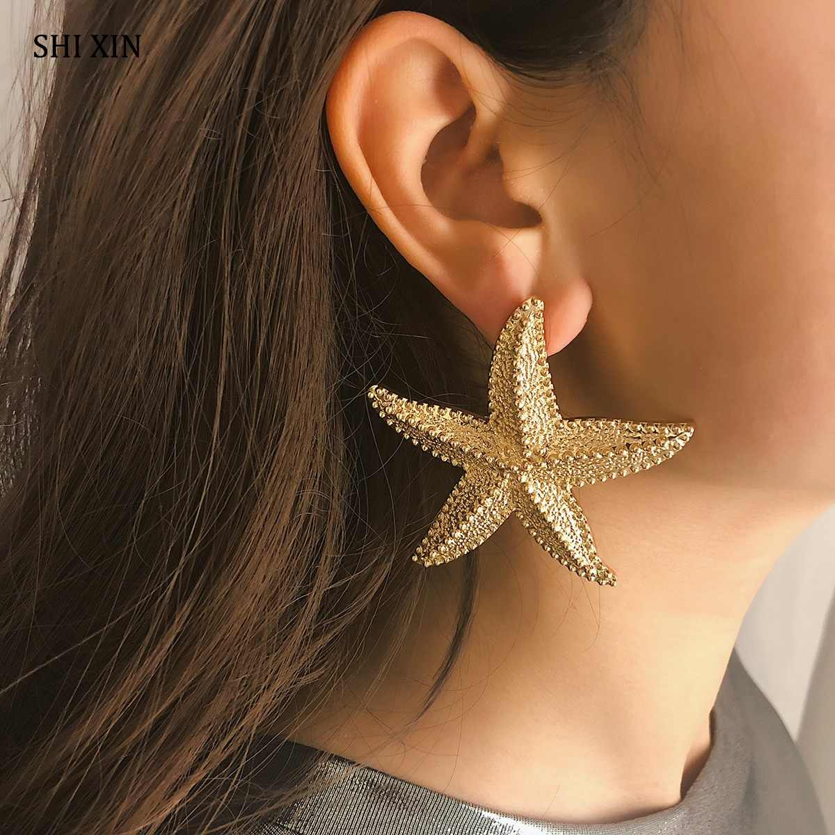 SHIXIN Exaggerated Boho Big Starfish Stud Earrings Women Fashion Modern Sea Star Female Statement Jewelry Oorbellen Brincos Gift