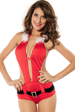 women Hot Selling Santa's Christmas cosplay For adult Sexy Bright Red Playful Santa teddy Romper with Belt Lingerie Costume 7132