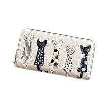 2019 New Pattern Ladies Wallet, Girls Wallet,Cartoons wallet Lovely Five Cats, Zipper Hand Wallet