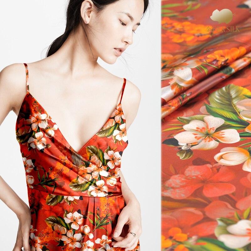 40 мм тяжелый пеньковый креп, сатин, шелк, ткань с цифровой печатью, платье рубашка, шелковая эластичная атласная ткань, оптовая продажа шелко... - 2