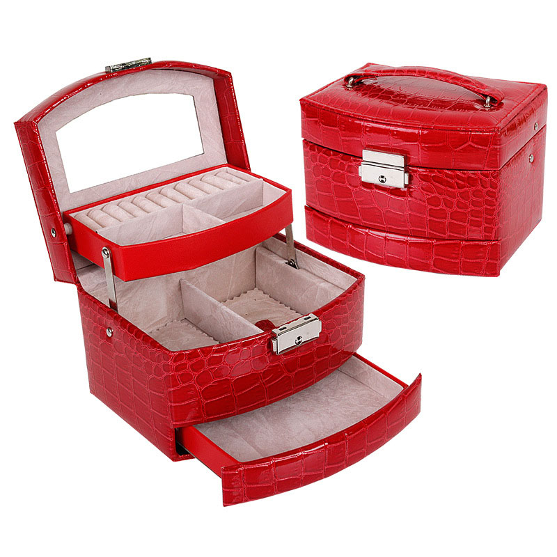 Russia Shipping 3 Layers Jewelry Box With Drawers Necklace Jewelry Case With Lock And Key Makeup Mirror PU Leather KQS8