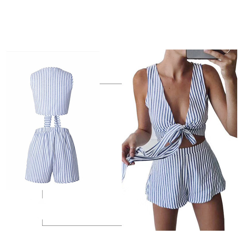 c3c0803ae653 Two Piece Set Blue Striped Playsuits Beach Casual Short Pants Jumpsuit  Rompers Sexy Sleeveless V Neck Overalls Bodysuit Sashes-in Rompers from  Women s ...