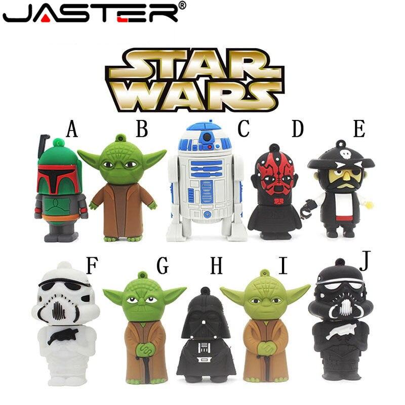 JASTER Hot Sale Cartoon Flash Memory Interface Flash Drives USB2.0 4GB 8GB 16GB 32GB 64gb Star Wars Robot All Styles Pen Drive