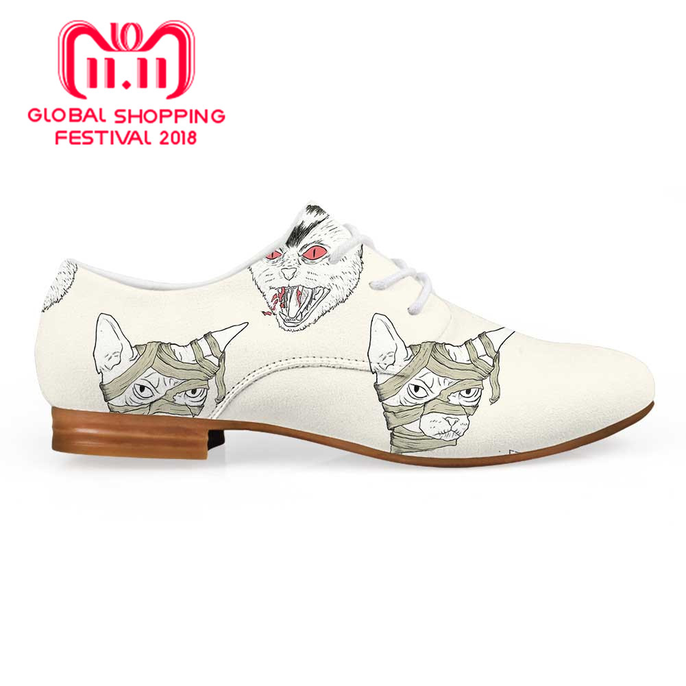Siamese Cat Pattern Women Fashion Dress Shoes Autumn Women's Casual Oxfords Shoes High Quality Female Leather high quality genuine leather women shoes fashion female casual shoes heart