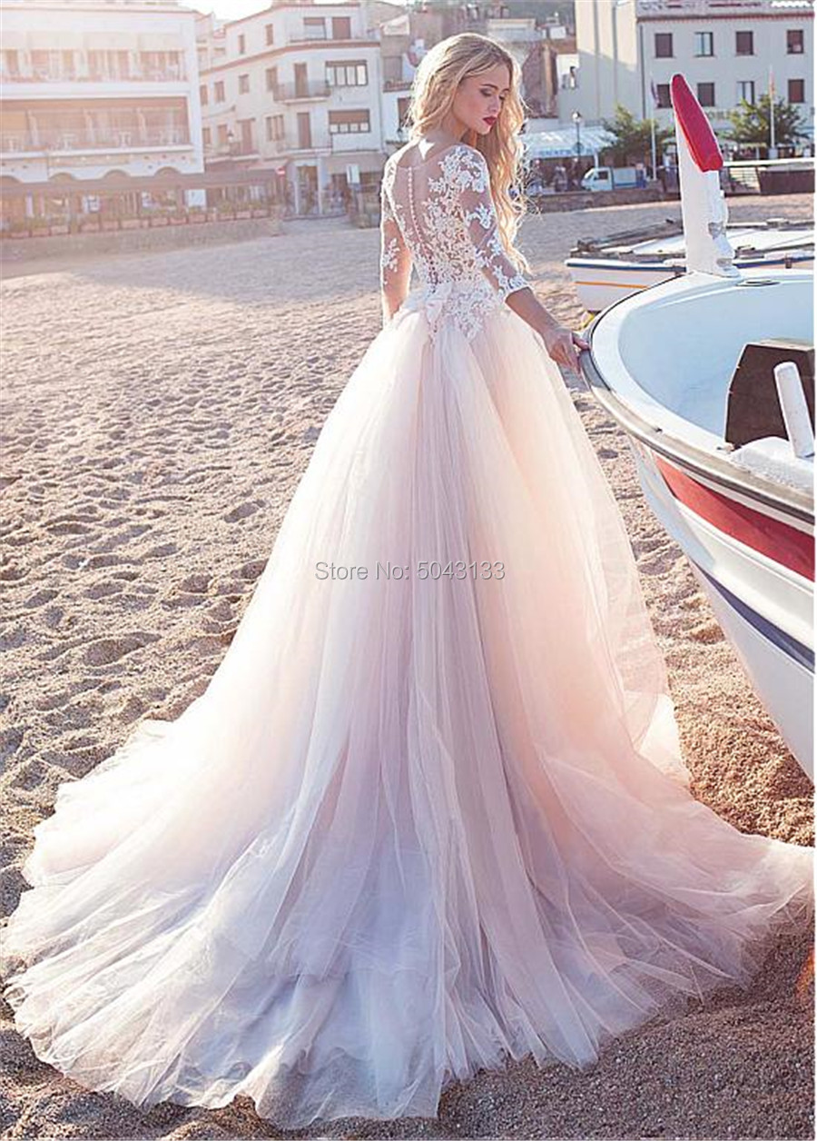 Image 2 - 2019 Fascinating Tulle Scoop Neckline A Line Wedding Dresses With Lace Appliques Long Sleeves Beach Wedding Bridal Dress F96-in Wedding Dresses from Weddings & Events