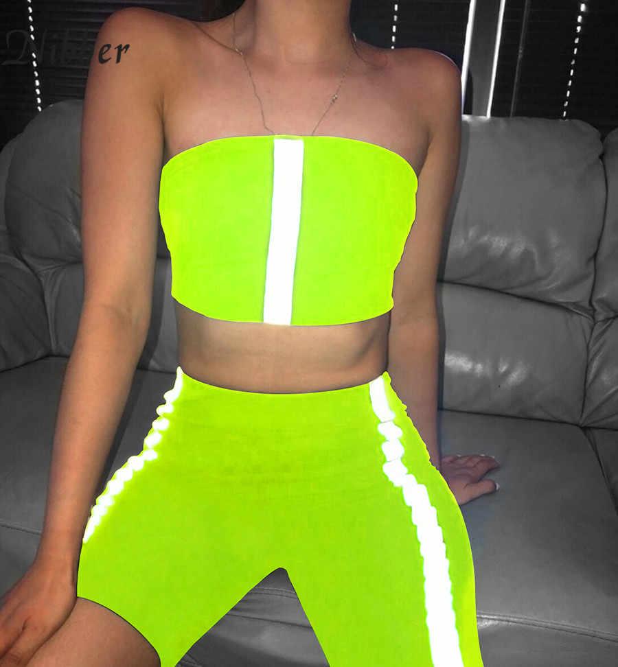 2019 verano neón color reflectante camis shorts 2two pieces sets mujeres moda Casual ropa deportiva señoras corto Jogging suits