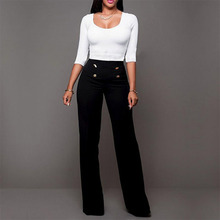 купить 2019 Spring High Waisted Women Flared Pants Brief Button Decoration Solid Wide Leg Trousers Plus Size Casual trousers Long Pants по цене 1041.45 рублей