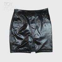 Sexy black genuine leather skirts women slim split pencil skirt faldas jupe saia etek sheepskin mini skirt Free shipping LT106