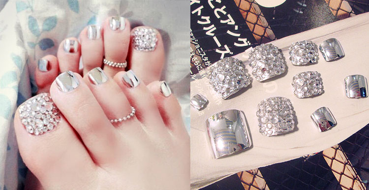 Neue 24 Stucke Sommer Schonheit Metall Silber Charming Full Cover