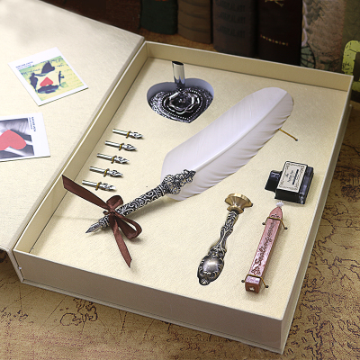 Mb Fountain Pen Feather Fountain Pen Harry Potter Exquisite Gift Box With Five Nibs, Stand, Stamp, Wax,ink Bottle For Gifts personalized harry potter hogwarts school badge wax seal stamp w wax set new