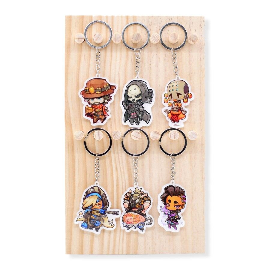 Cute Overwatch Keychain Reaper/Mccree/Roadhog Pendant Key Chain Accessories Game Keyring XS-2 mini motorcycle helmet keychain cute keyring