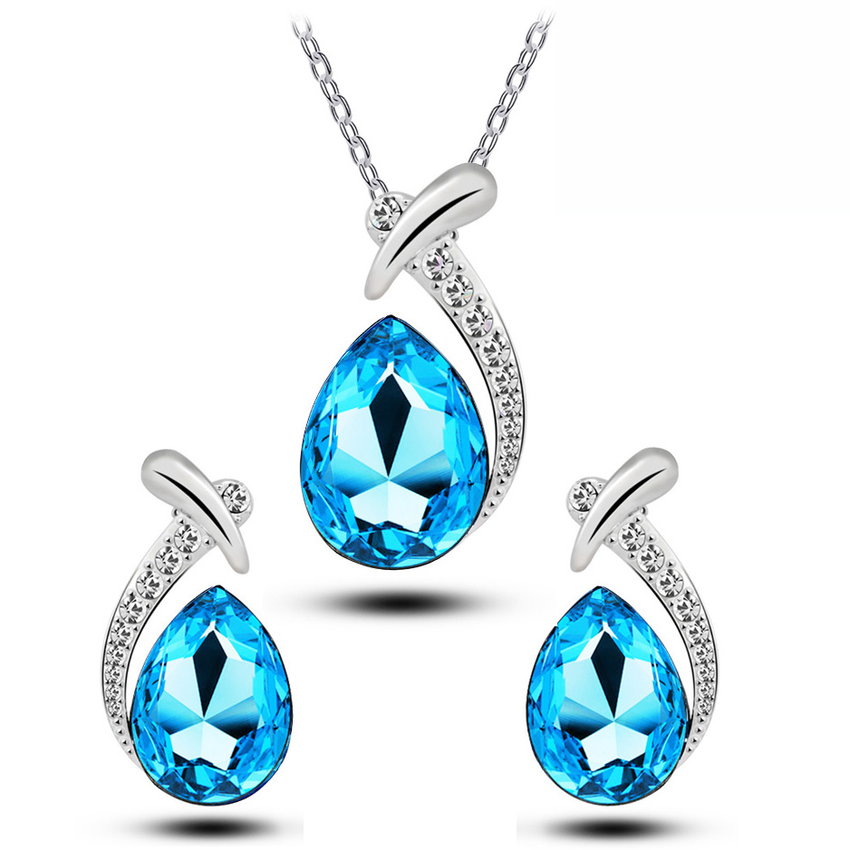 fish Austrian Crystal fashion water tear pendant necklace earring fashion jewelry set gift free drop shipping party brand bridal
