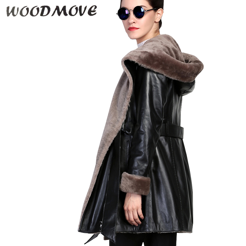Womens Real Faux Leather Jacket Coat Long Sleeve Hooded Shearling Zipper Jackets High Quality Genuine Leather Jacket