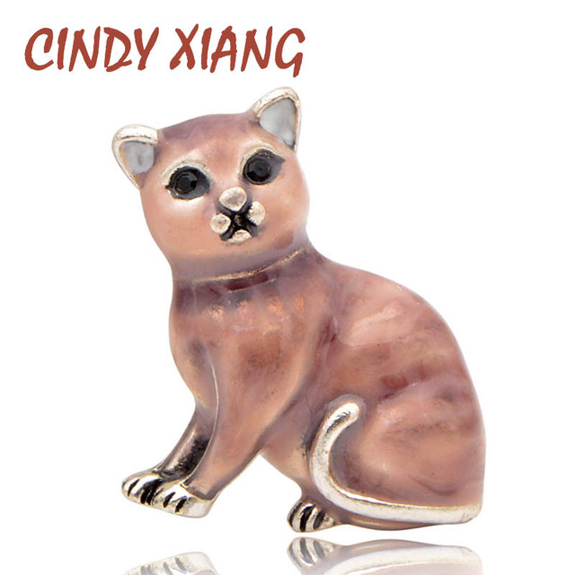 CINDY XIANG Enamel Cat Brooches for Women Small Kitty Pins Kids Jewelry Cute Fashion Animal Brooch 3 Colors Available Good Gift